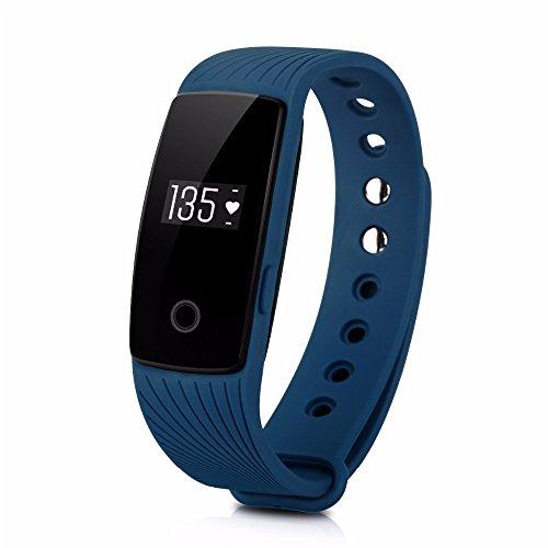 ginsy Fitness Tracker mit Herzfrequenz Monitor Sleep Monitor Smart Armband Activity Tracker für iPhone und Android Handy, blau
