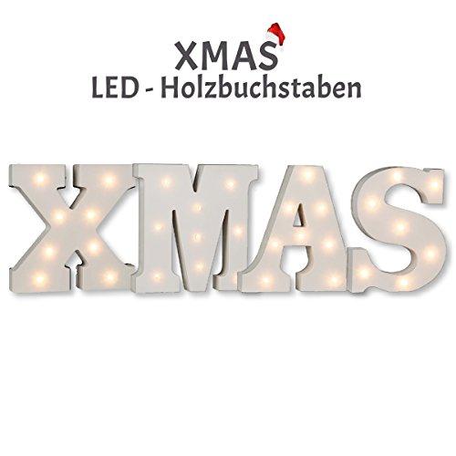 """Beleuchtete Schriftzug / """"X-MAS"""" / 4-teilig / LED Buchstaben / weiß, ca. 16 cm Höhe"""