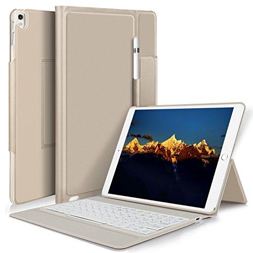 IVSO iPad Pro 10.5 QWERTZ Tastatur, Wireless Bluetooth Tastatur Schutzhülle mit Standfunction Für Apple iPad Pro 10.5 Tablet, Gold