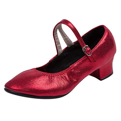 Latinschuhe für Damen/Dorical Frauen Geschlossen Zehen High Heel Tango Ballsaal Latin Schnalle Ankle Tanzschuhe Abendschuhe,Weiche Sohle Ausverkauf(Rot,38 EU)