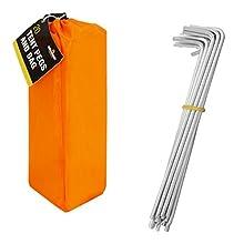 Milestone Camping Men's 20930 20 Pegs in Carry Bag-Silver, Orange, H16.5 x W2cm
