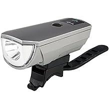 Luces LED para bicicleta luz delantera, para bicicleta faro delantero USB Batería resistente al agua con sistema de light-sensing inteligente 5modo de trabajo 800lúmenes brillantes luces de bicicleta, Anti-dazzle eficaz con alcance de 50m), color plateado
