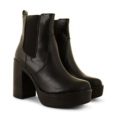 Tamanho Empurrou Pd4 Novas Tornozelo Calcanhar Preto Pu Botina Bloco Sapatos De Mulheres Plataforma 4n4YSvaWq