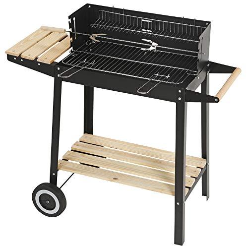 Superworth trolley antracite rettangolare in acciaio INOX barbecue grill da esterni, da giardino con ruote mensole in legno