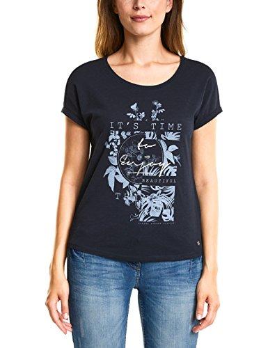 Cecil Damen T-Shirt 312259, Blau (Deep Blue 30128), Small