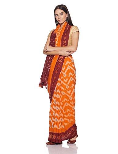 IndusDiva Pochampally Ikat Pure Cotton Handloom Saree (BLR1900011_Orange_One Size)