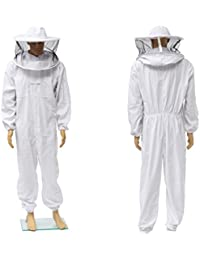 Traje de Abejas, CAMTOA Traje de Apicultura Profesional/Beekeeping Bee Suit con Casquillo Redondo Veil (respirable) - Proteja a Los Apicultores Profesionales, Bianco, (XXL) bianco XXL