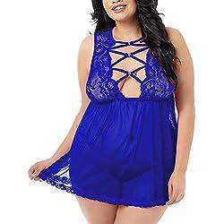FeelinGirl Conjuntos Sexy de Lencería de Mujer Transparente con Tanga Encaje Floral Azul XL
