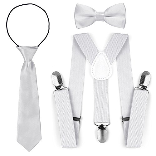 Dem Weißen Jungen Auf Band Clip (Kinder Kleinkind verstellbare elastische Mode Hosenträger Fliege Krawatte Set (Weiß))