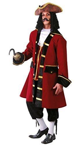 Herren Rot Piraten Kapitän Hook Halloween Film TV Kostüm Kleid Outfit Größe L