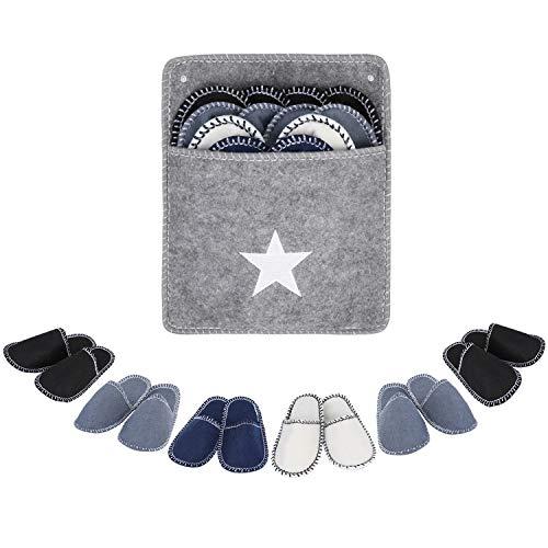 Femor pantofole in feltro per gli ospiti, tallone aperto antiscivolo per unisex adulto 6 set 36-41 grigio
