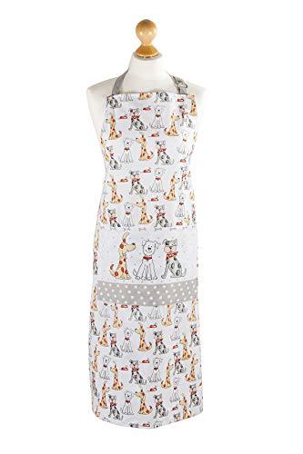 Delantal de Cocina Blanco Originales con diseño de Lindo Perro, algodón Ajustables con Bolsillo, Regalos de Perros Quality Cooking Kitchen Apron Dog Design Gift for Animal Lover
