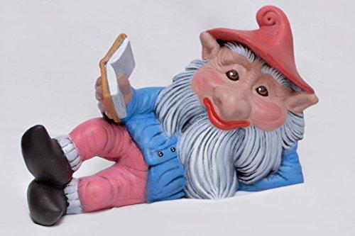 Gnome Grande taille Figure Céramique Hand Painted Décoration d'extérieur