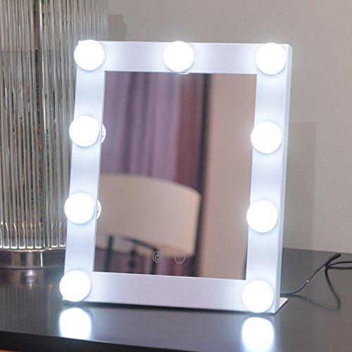 Schminkspiegel TOUCH Bildschirm mit 9Big-LED-Leuchtmittel Beleuchtete Spiegel Adjustbale Helligkeit - weiß