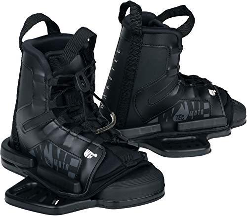 WAKETEC Wakeboard Bindung Moto, Größen 34-47 EU - S/M, L/XL, großer Verstellbereich, komfortabel, Fester Halt, universelles Lochbild, Wake-Binding Boots Schuhe, Kinder Erwachsene, schwarz, Größen:S-M