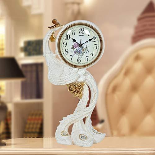 Unbekannt FEI Tischuhr Europäischen Pfau Uhr Wohnzimmer Phoenix Retro Uhr Moderne Kreative Uhr Einfache Große Stille Uhr,BBB