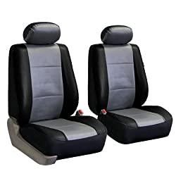FH-PU002102 Classic Synthetic Leather Bucket Seat Covers, Airbag compatible and Split Bench, Gray and Black color