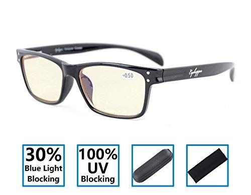 Gr8sight 30% blocco della luce blu, 100% uv protezione cerniere a molla stile sportivo specifiche computer occhiali da lettura uomo donna gialle colorate lenti nero +4.00