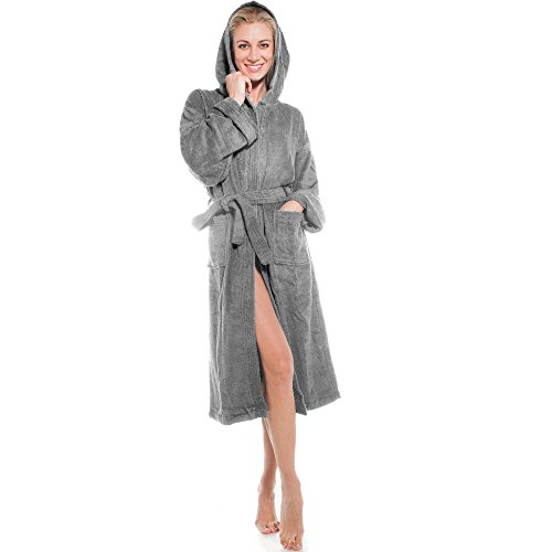 aqua-textil Frottee Bademantel mit Kapuze aus 100{0e4884bdf9221ed9e8e0868a701a1ac381b8885a230e14219d457a0838f1966b} Baumwolle, für Damen u. Herren, Morgenmantel Föhr 1000387 grau XXXL