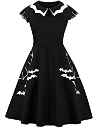 3fa94750615 RoseGal Women Vintage Halloween Bat Plus Size Dress Round Collar Short  Sleeve Keyhole