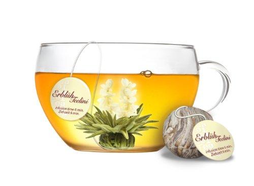 variazione di fiori di tè di creano creano in un formato di tazza esclusivo fior die tè tèlini | 8 fiori di tè di 4 tipi diversi (tè bianco)