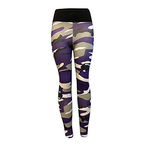 VENMO Damen Mode Workout Leggings/Fitness Sport Gym Running/Yoga Sporthose/Sporthose Lange Fitnesshose/Bedruckte Bunte Leggins/Damen Leggings lang Sport Yoga/Hose Stretch (Purple, S)