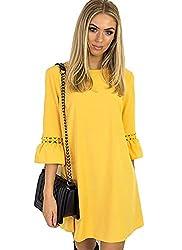 Aitos A Linie Kleider Damen 3/4 Arm Sommerkleid Tunika Elegante Minikleider Strandkleider Partykleid Schick Causal Lose Gelb M/Brust 98cm