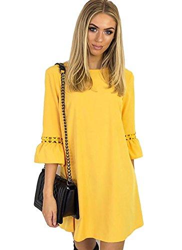Aitos A Linie Kleider Damen 3/4 Arm Sommerkleid Tunika Elegante Minikleider Strandkleider Partykleid Schick Causal Lose Gelb XL/Brust - Kleider Damen Gelb