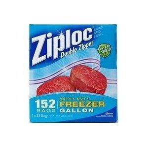 Ziploc Sacs Double fermeture éclair 152 sacs 26,8 x 24,3 x 38 cm - 4 Sacs de congélation très résistants 2 kg