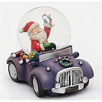 Bella e originale palla di vetro con base a forma di automobile e babbo natale come conduttore, circa 5,5 x 8 cm / Ø 4,5 cm