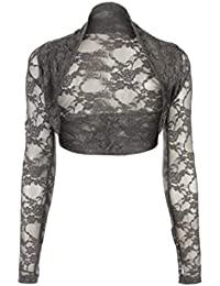 66bc64c9c41ee9 Classy Fashion Womens Cropped Bolero Lace Shrug Long Sleeve Open Cardigan  Crop Top