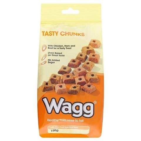 Wagg morceaux savoureux au poulet, au jambon et boeuf 150g (Pack de 7 x 150g)