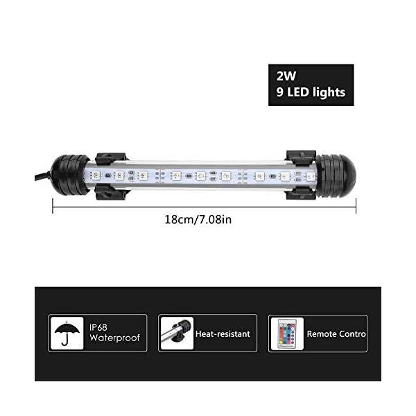 Zerodis LED Aquarium Light, Colorful Submersible Fish Tank Light Heat-resistant Remote Control Waterproof Underwater…