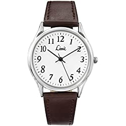 Limit Men's Quartz Watch with White Dial Analogue Display and Black Polyurethane Strap 5447.37
