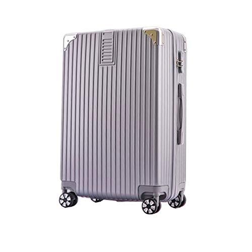 Gepäckstück Hartschalen-Reise-Trolley-Koffer Student Passwortbox Universalrad 4 Twin Spinner Wheels Blue-28inch-Silver