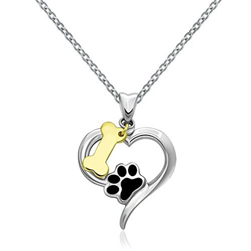 MONBO 925Sterling Silber Hund Lover 's Geschenk jewelry gelb Knochen und Hund Pfote Anhänger Halskette für Frauen (Ändern Gelben T-shirt)