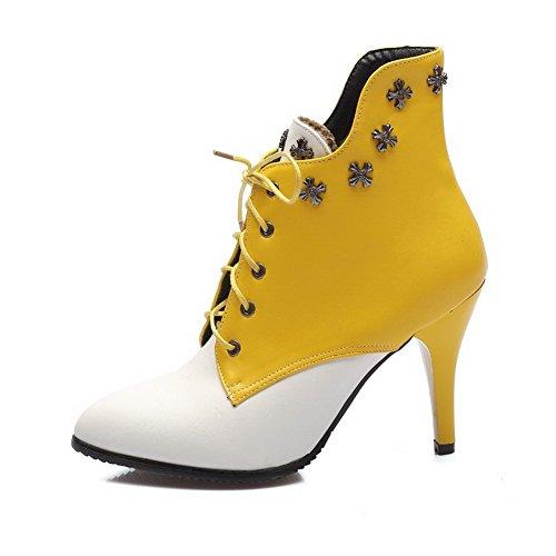AllhqFashion Damen Schnüren Hoher Absatz PU Zweifarbig Stiefel mit Rivet Set, Schwarz, 37