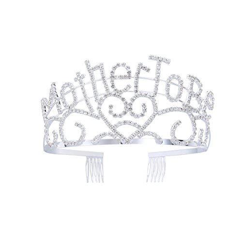 Frcolor Metall Mutter zu Silber Tiara Herzen Krone mit funkelnden Strass für Baby Dusche Zukunft Erwartung Mama Dekorationen Geschenk