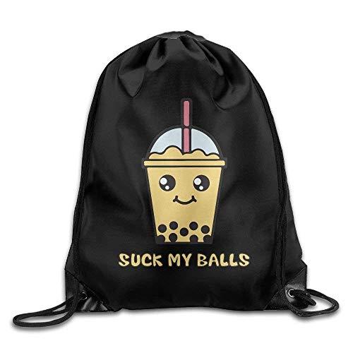 ewtretr Turnbeutel, Suck My Balls Kawaii Bubble Tea Gym Drawstring Backpack Unisex Portable Sack Bag