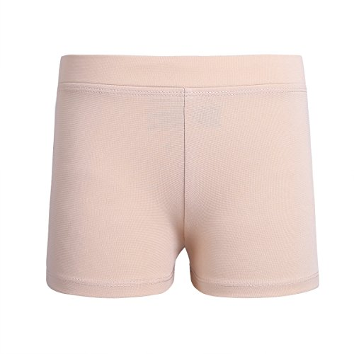 Tiaobug Kinder Mädchen Shorts Sportshorts aus glattem Stoff Stretch Kurze Hose Fitness Tanzen Yoga Shorts Hose Leggings Freizeit Hot Pants Training Tights Nackt S(Taille 53-68cm)