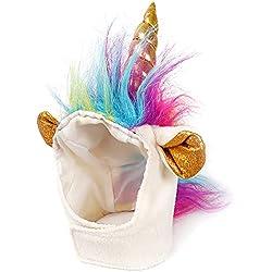 Ndier Unicorn - Gorro de Hombre para Perros y Gatos pequeños, Disfraz de Mascota para Halloween, Navidad, Pascua, Festival, Fiesta, Actividad
