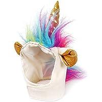 Traje unicornio unicornio gato Hat para perrito del gato del perro pequeño Novel divertido Adjustabale Cosplay Mane Sombrero Sombrero para Halloween Festival de cumpleaños del partido del tema apoyos de la foto
