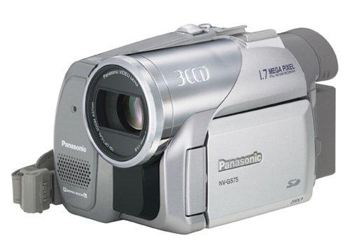 Caméscope numérique miniDV Panasonic NV-GS75EG-S Système de caméra 3CCD, photos 1,7 mégapixels, manipulation 1 main (navigation par joystick), zoom optique10x, interface haute vitesse USB 2.0 et télécommande filaire avec micro