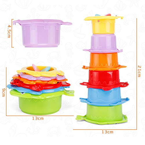 IJKLMNOP Bath Stacking Cups, Kids Funny Cup Bath Toys, Caterpillar Nesting Cups for Toddlers, Easily Stackable Brightly Colored with Numbers and Safety Standard Bath Toys,Perfect for Bathtubs