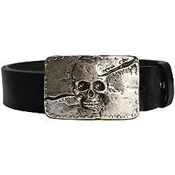 BBM-STYLE Cinturón, Skull, Calavera, Massive hebilla, piel de búfalo de banda a escala