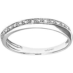 Naava Anillo para Mujer de Oro Blanco 9K con 7 Diamantes talla 9