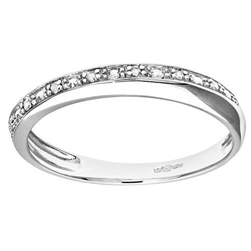 Naava Anillo para Mujer de Oro Blanco 9K con 7 Diamantes talla 15.5