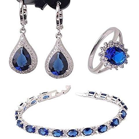 Donne di cristallo bling fashion Orecchini Bracciale Set anelli placcati oro bianco 18K zirconi set e051F + l120C + R199