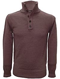 Posh Gear Men's Stand-Up Collar Jumper Lupetto 100% Alpaca Wool