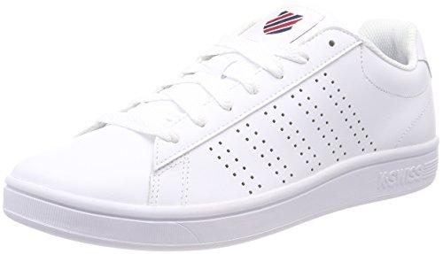 K-Swiss Herren Court Casper Sneaker, Weiß (White/Chili Pepper/Dress Blu 140), 44 EU